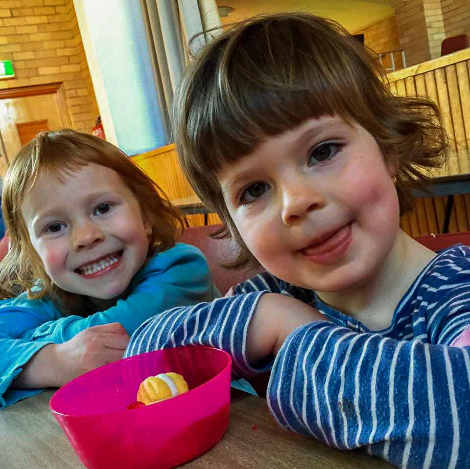 Coburg Uniting Church Melbourne, Sunday School page: Two young girls smiling at the camera