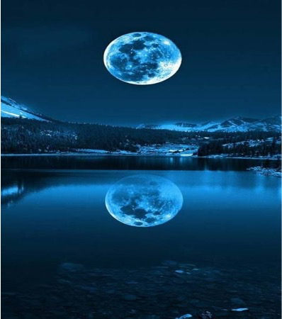The moon sitting above a body of water at nighttime, colouring is black and dark blue.