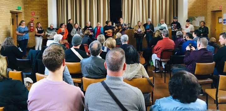 Coburg-Uniting-Church-Melbourne-Music-Large hall filled with people during a concert led by Nicki Johnson
