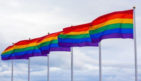 A row of rainbow coloured flags with the sky as backdrop.